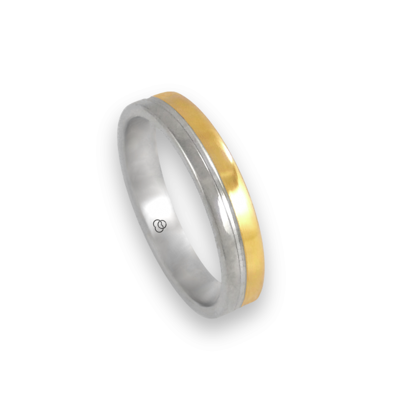 Ring in white and yellow gold 18k polished finish model ac045004ew