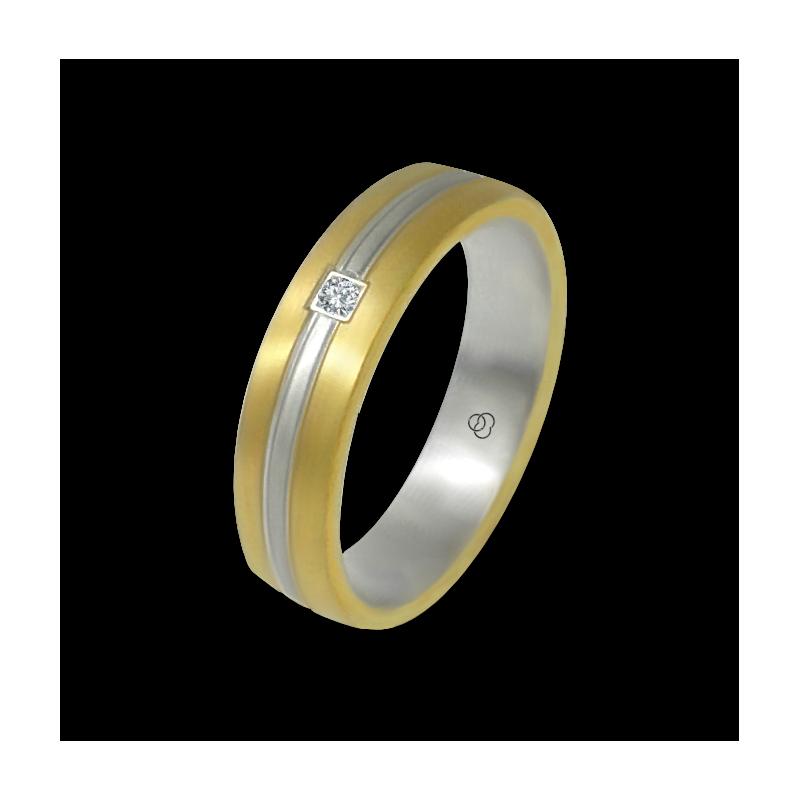 Anello oro giallo e bianco 18 kt finitura satinato un diamante modello bi058814dw
