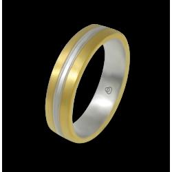 Кольцо из желтого и белого золота 18-каратное матовое модель bi058814ew