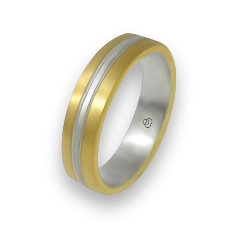 Ring in yellow and white gold 18k satin finish model bi058814ew