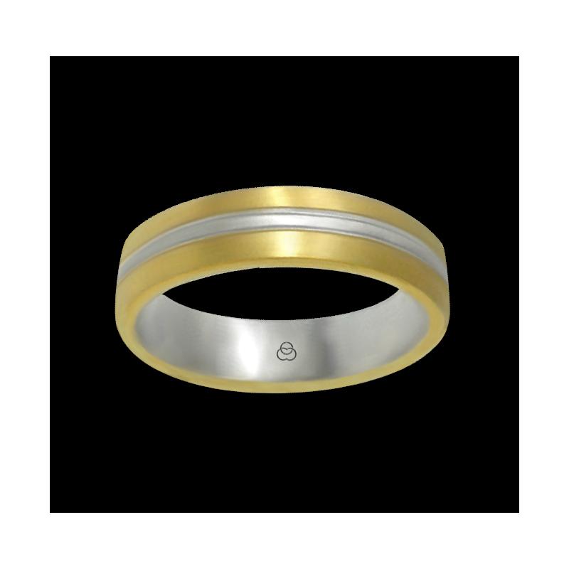 Anello oro giallo e bianco 18 kt finitura satinato modello bi058814ew