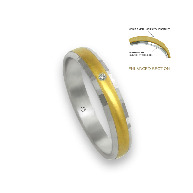 Ring in white and yellow gold 18k horizontally brushed finish at the center one diamond model ml046732dw