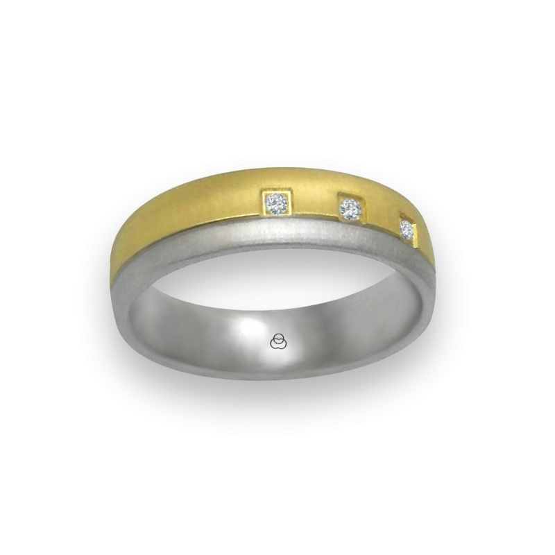 Ring in yellow and white gold 18k slim rows diamond cut finish three diamonds model mc252124dw