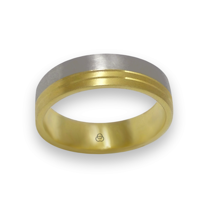 Ring in yellow and white gold 18k satin finish model ba066124ew