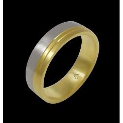 Кольцо из желтого и белого золота 18-каратное матовое модель ba066124ew