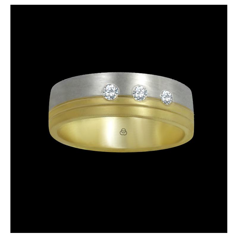 Anello oro giallo e bianco 18 kt satinato con tre diamanti modello ba066124dw