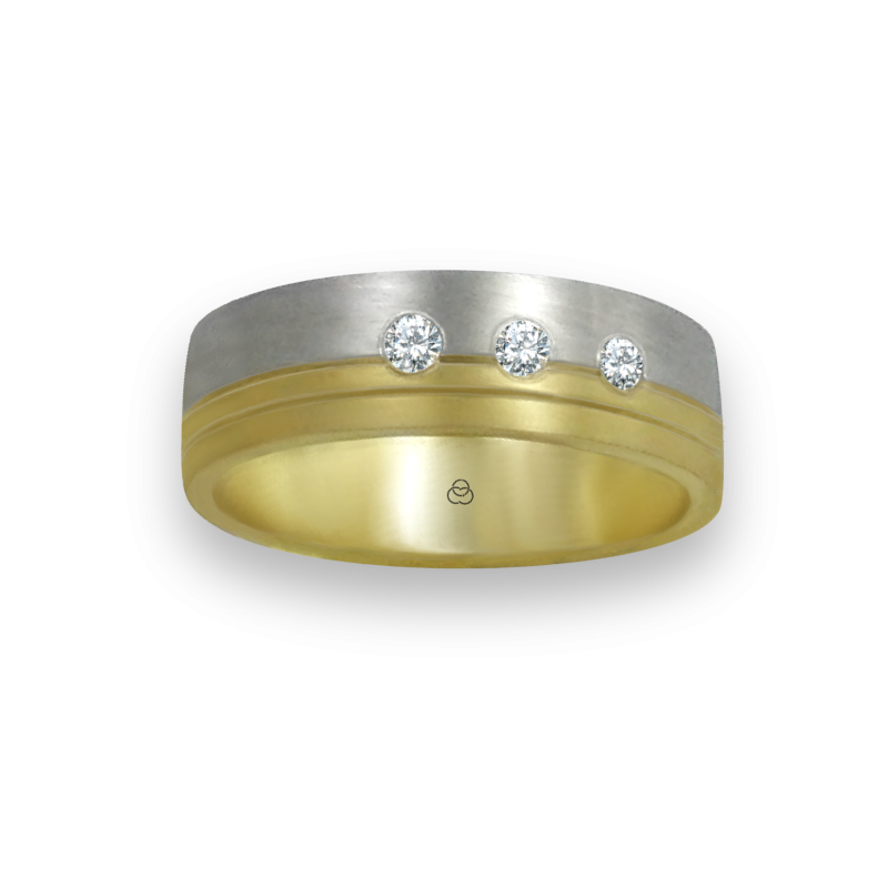ring in yellow and white gold 18k satin finish three