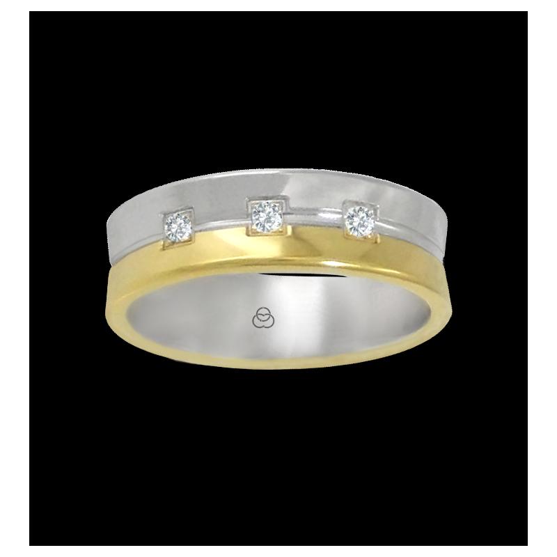 Anello oro giallo e bianco 18 kt lucido con tre diamanti modello aa062524dw