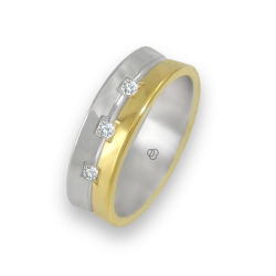 Ring in yellow and white gold 18k polished finish three diamonds model aa062524dw