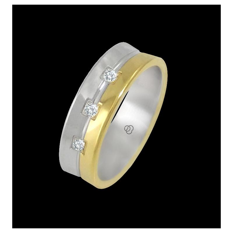 Кольцо из желтого и белого золота 18 карат, полированное с тремя бриллиантами модель aa062524dw
