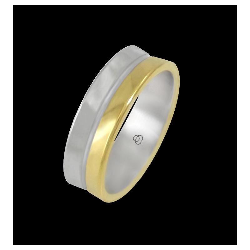 Кольцо из желтого и белого золота 18-каратное полированное модель aa062524ew