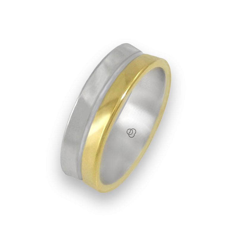 Ring in yellow and white gold 18k polished finish model aa062524ew