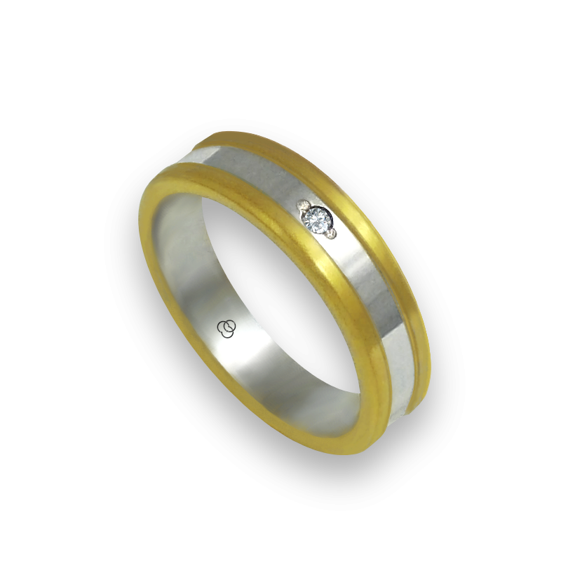 Ring in yellow and white gold 18k satin and polished finish one diamond model bi054624dw