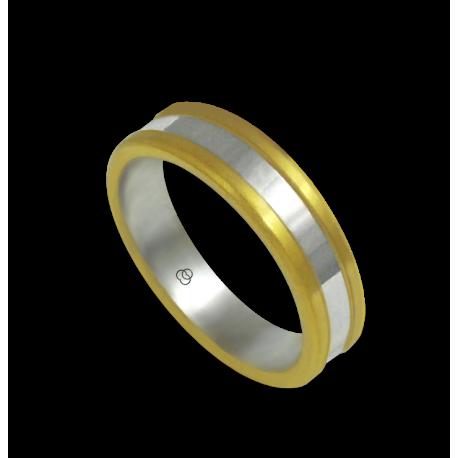 Кольцо из желтого и белого золота 18 карат, отделка-матовая и глянцевая модель bi054624ew