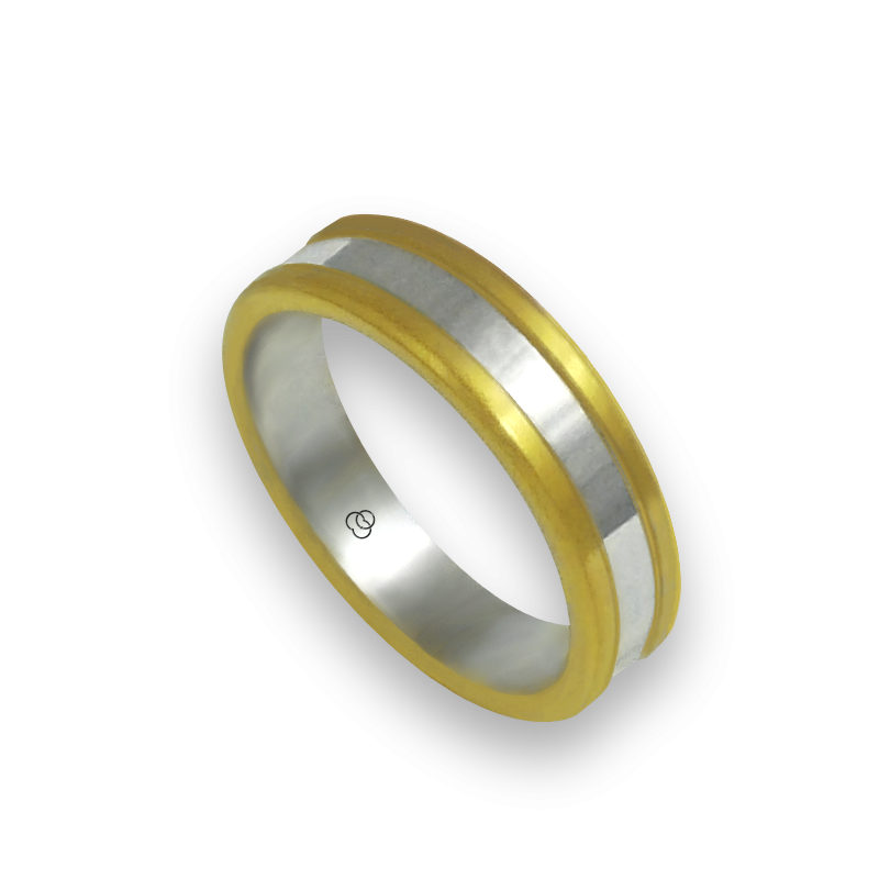 ring in yellow and white gold 18k satin and polished