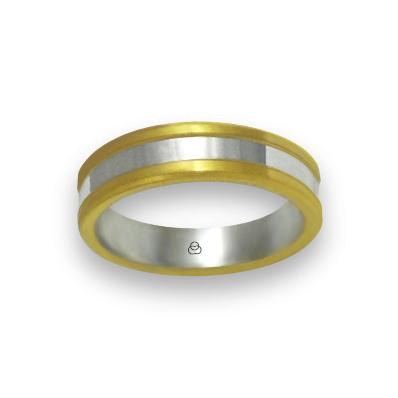 Ring in yellow and white gold 18k satin and polished finish model bi054624ew