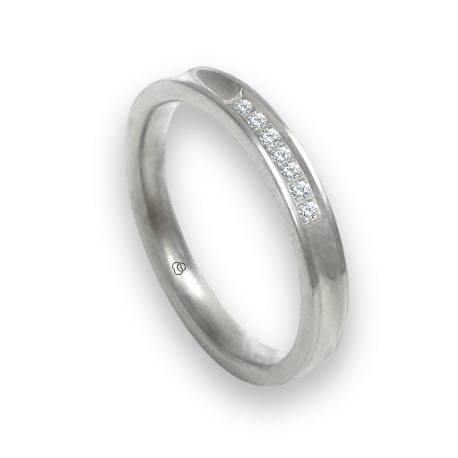 Anello oro bianco 18 kt finitura licido concavo al centro sette diamanti modello ab036924dw