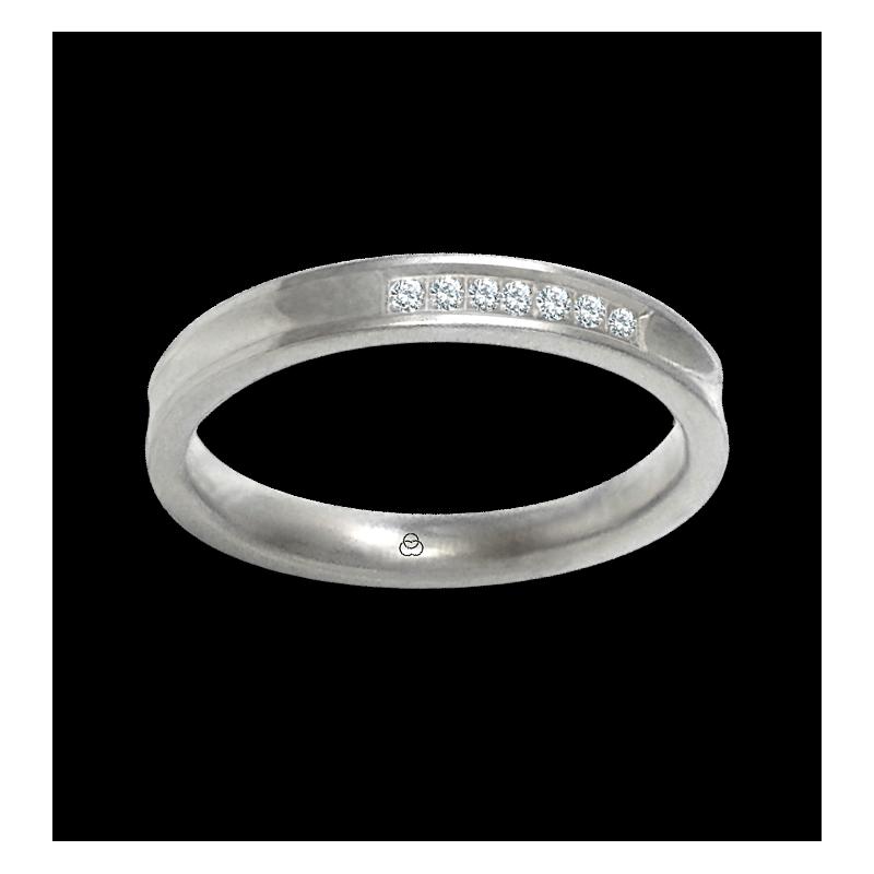 Кольцо из белого золота 18 карат, отделка глянцевая вогнутая с семью бриллиантами в центре модель ab036924dw