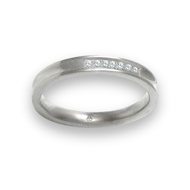 Ring in white gold 18k polished finish holloved at the center seven diamonds model ab036924dw