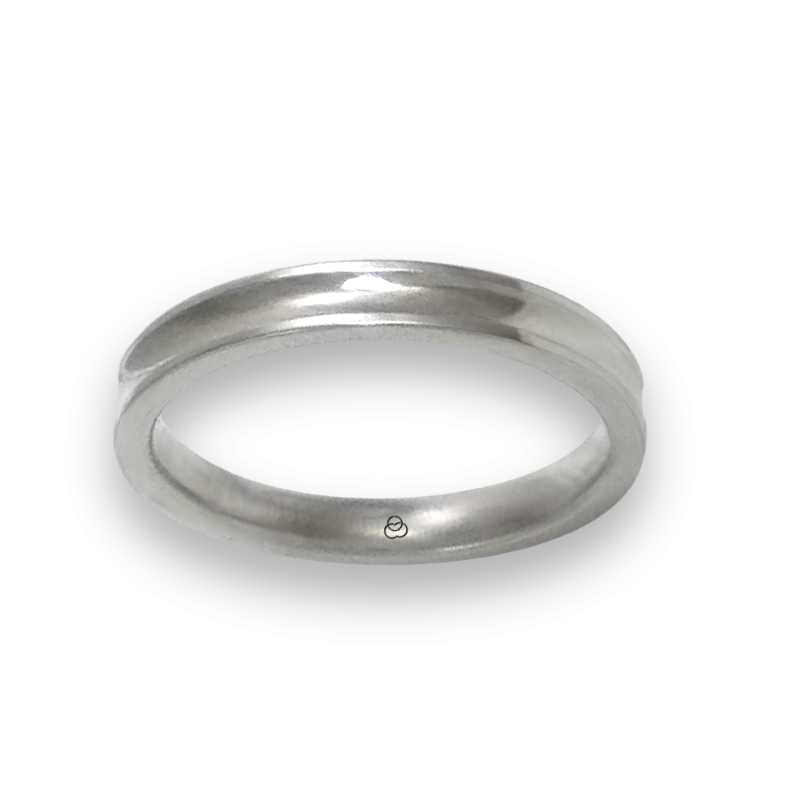 Ring in white gold 18k polished finish holloved at the center model ab036924ew