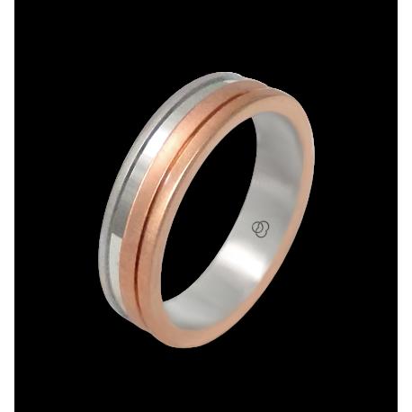 Anello oro bianco e rosa 18 kt satinato modello md068234ew