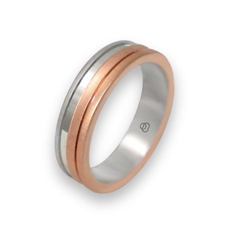 Ring in rose and white gold 18k satin finish model md068234ew