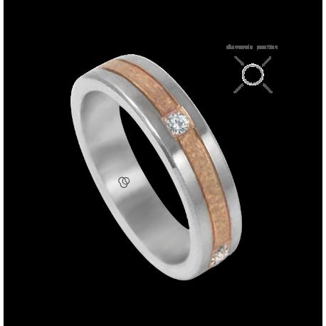 Anello oro bianco e rosa 18 kt martellato quattro diamanti modello zp05343dw