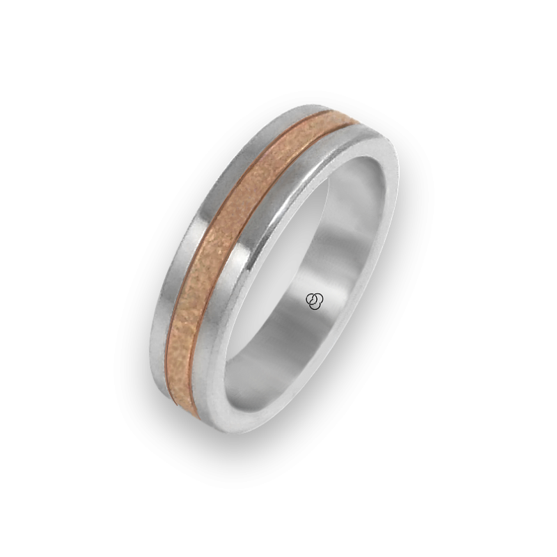 Ring in rose and white gold 18k hammered finish model zp053434ew