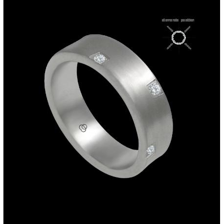 Кольцо из белого золота 18 карат поверхность слегка вогнутая с восемью бриллиантами модель bb064434dw