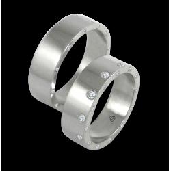 Пара обручальных колец унисекс из белого золота глянцевые с 12 + 24 бриллиантами модель ab56779wd