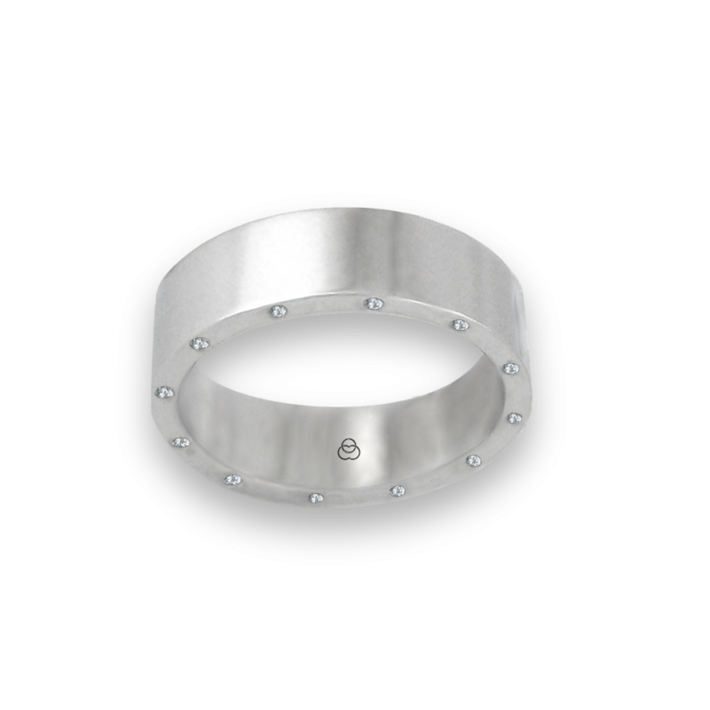 Unisex ring in white gold 18k with 12 diamonds polished finish model ab56779dw