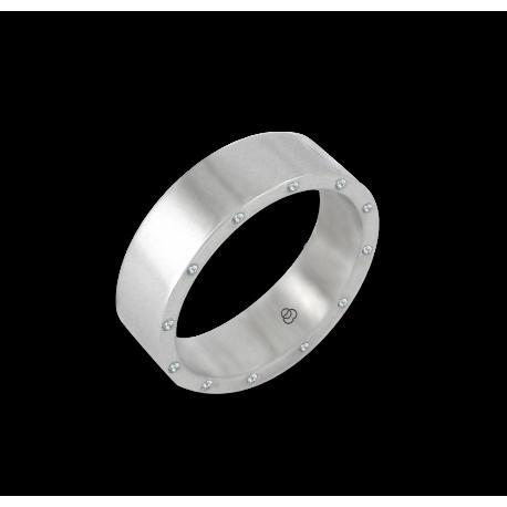 Anello unisex in oro bianco 18 kt lucido con 12 diamanti modello ab56779dw