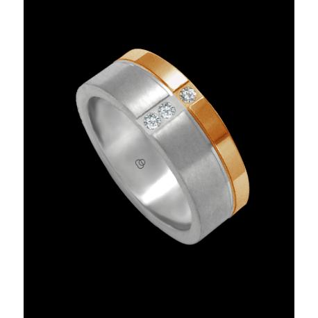 Кольцо унисекс из белого и розового золота 18 карат, сатинированное и полированное с 3 бриллиантами модель bd073142dw