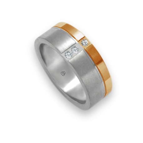 Unisex ring in white and rose gold 18k with 3 diamonds polished and satin finish model bd073142dw