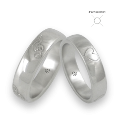 Wedding bands in white gold violin keys and hearts drawing model 63-4ew