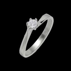 Anello solitario in oro bianco - diamante 0.20 ct - modello Oscar