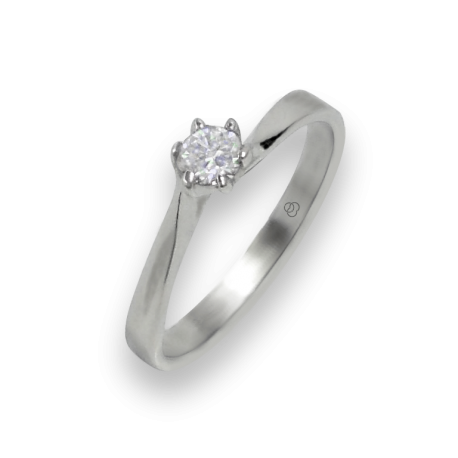 solitaire ring in white Gold - diamond 0.20 ct - model Oscar
