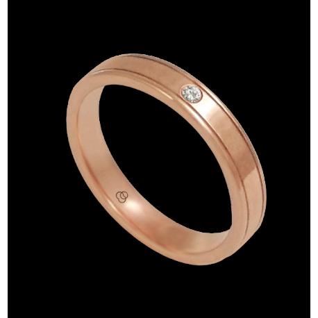 Anello in oro rosa 18 kt superficie piatta un diamante modello aq537401dw