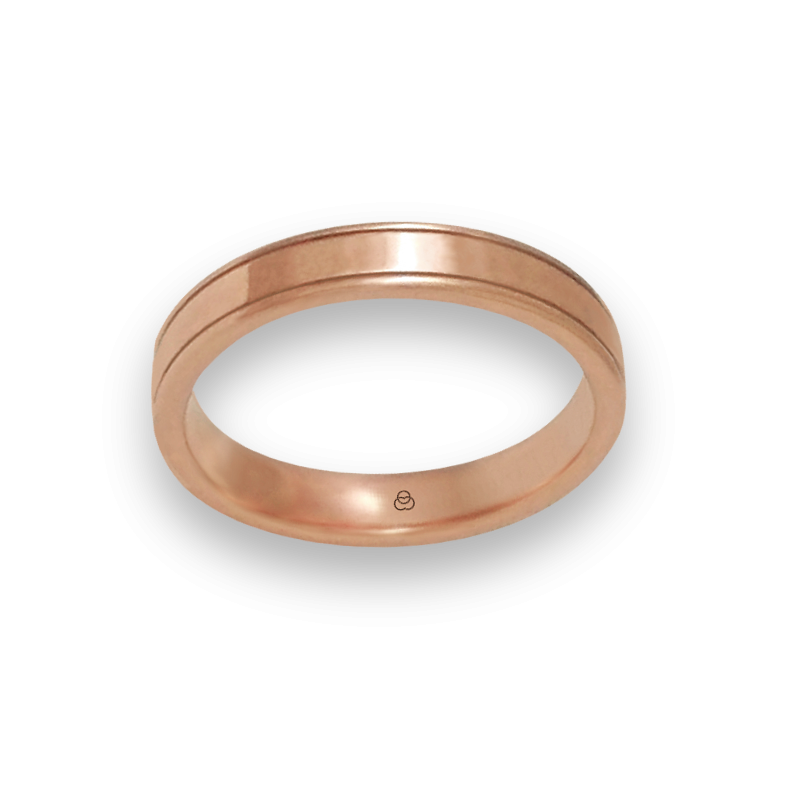 Ring in rose gold 18k flat surface polished finish model aq537401ew