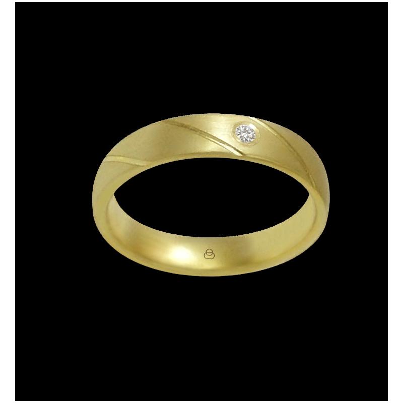 Anello oro giallo 18 kt satinato un diamante modello bg044822dw