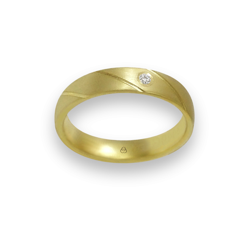 Ring in yellow gold 18k satin finish oblique lines one diamond model bg044822dw