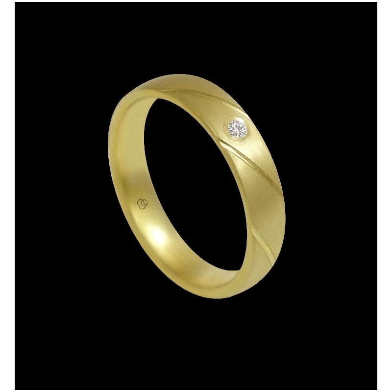 Кольцо, желтое золото 18-каратное матовое с алмазом модель bg044822dw