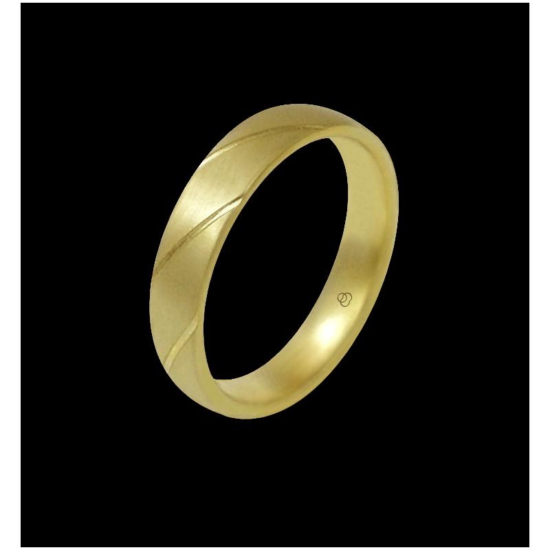 Anello oro giallo 18 kt satinato con righe oblique modello bg044822ew