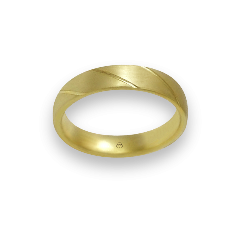 Ring in yellow gold 18k satin finish oblique lines model bg044822ew