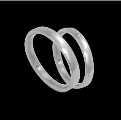 Wedding bands in white gold 18 k four diamonds model ab334124