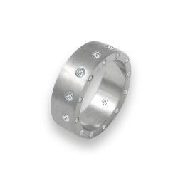 Unisex ring in white gold 18k with 12 + 12 diamonds satin finish model bb56779dw