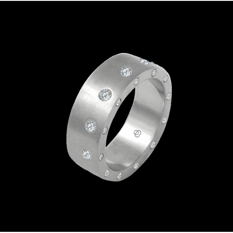 Anello unisex in oro bianco 18 kt satinato con 12 + 12 diamanti modello bb56779dw