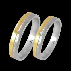 Fedi in oro bianco e giallo lucido con 1 diamante modello 045004