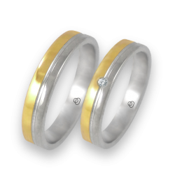 Wedding bands white and yellow gold with diamond model 045004