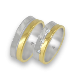 Wedding bands in white and yellow gold with 3 diamonds model 62524